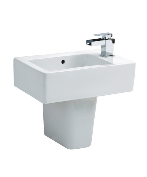 kitchen cabinets sink qube basin and semi pedestal 490 x 470mm 21185
