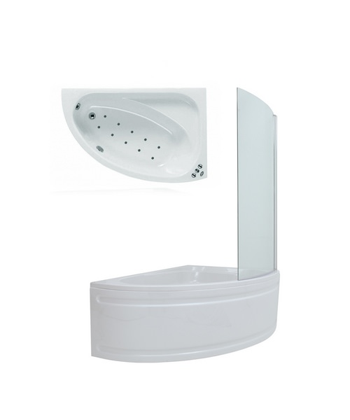 Phoenix Duo Right Hand Airpool Shower Bath 1500 x 1000 With Screen