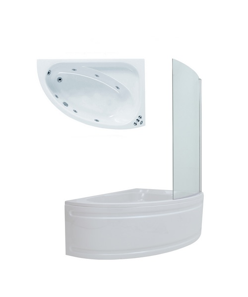 Phoenix Duo Right Hand 6 Jets Whirlpool Bath 1500 x 1000 With Screen