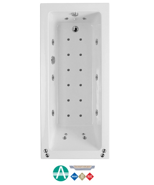 Phoenix Rectangularo 3 Amanzonite SE Whirlpool And Airpool Bath 1800x800mm