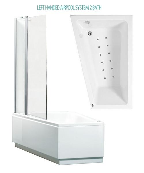 Phoenix Taranto Left Hand Airpool shower Bath And Bath Screen