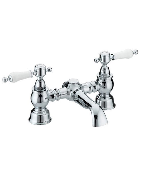 Heritage Glastonbury Chrome Bath Filler Tap With White Levers