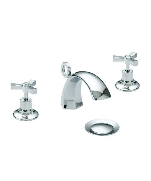 Heritage Gracechurch 3TH Basin Mixer Tap With Chrome Handles