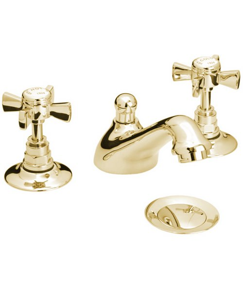 Heritage Dawlish 3 Tap Hole Basin Mixer Tap In Vintage Gold
