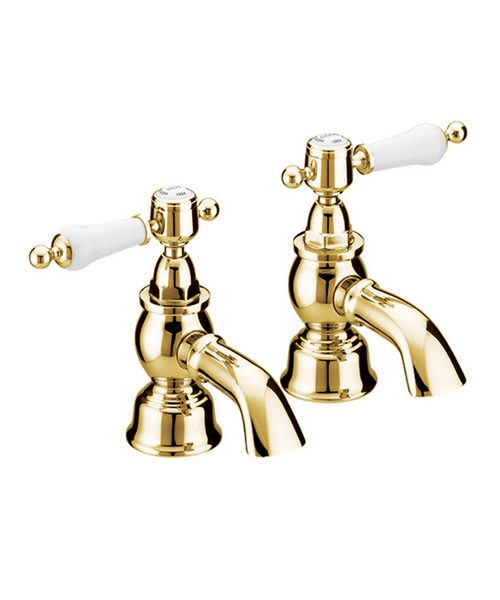 Heritage Glastonbury Vintage Gold Bath Pillar Taps With White Levers