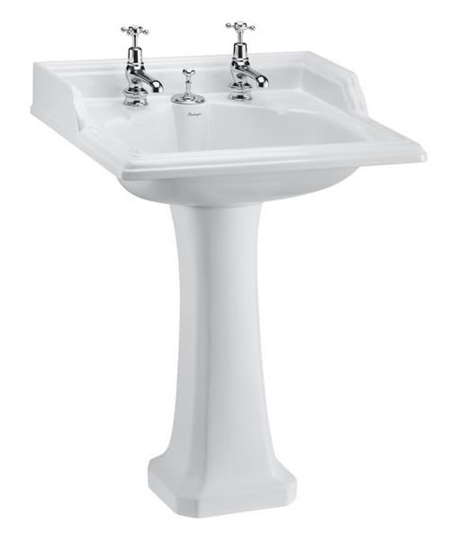 Burlington Classic Invisible Overflow Basin And Full Pedestal 650mm