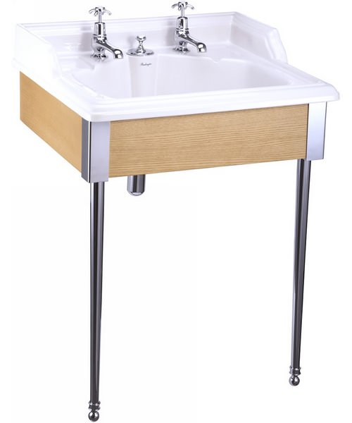 Burlington Classic Basin With Invisible Overflow And Oak Stand