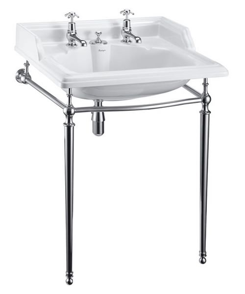 Burlington Classic Invisible Overflow Basin And Chrome Wash Stand