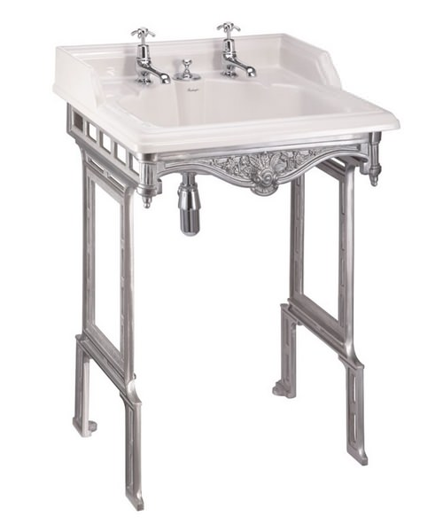 Burlington Classic Invisible Overflow Basin With Brushed Aluminium Stand