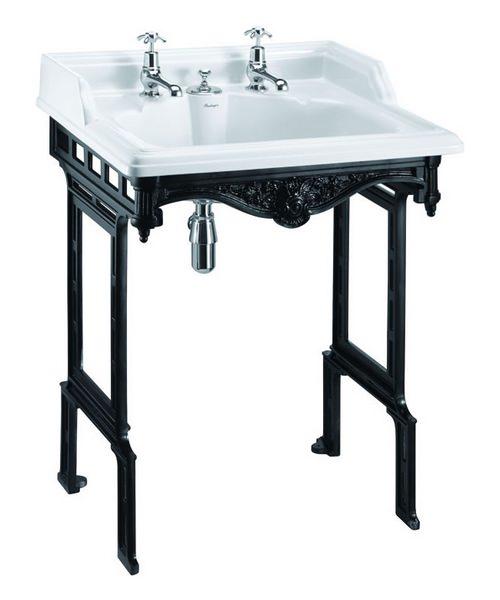 Burlington Classic Invisible Overflow Basin With Black Aluminium Stand