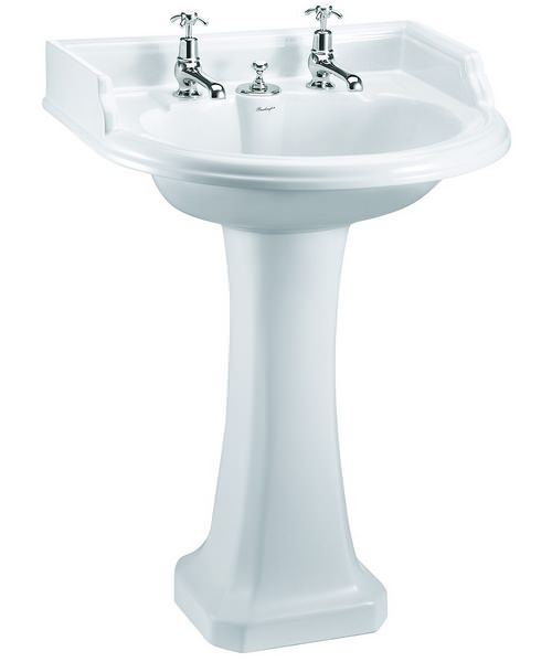 Burlington Round Classic Basin With Invisible Overflow And Pedestal