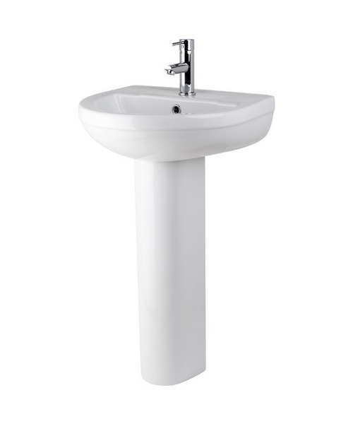 Lauren Harmony 500mm 1 Tap Hole Basin And Full Pedestal