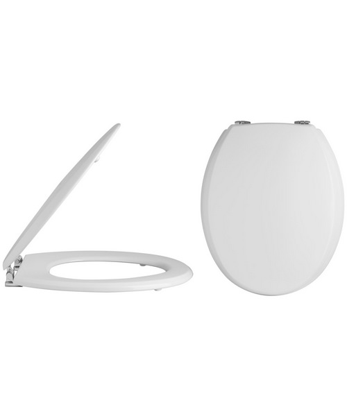 Lauren Round Bottom Fix Wooden Toilet Seat And Cover With Chrome Hinges