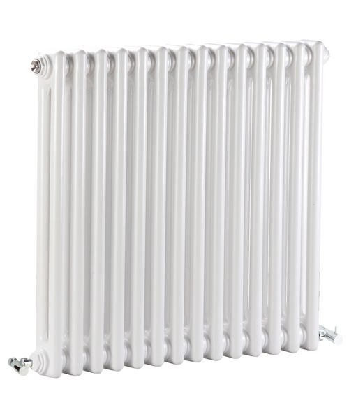 Lauren Regency Double Column 650 x 600mm White Horizontal Designer Radiator