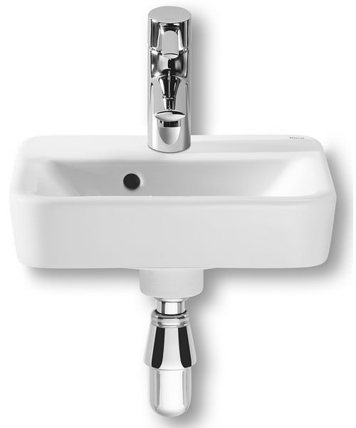 Roca senso square 350 x 285mm cloakroom basin with 1 tap hole for Roca cloakroom basin