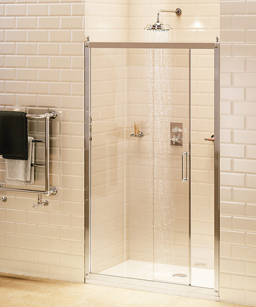 Burlington Soft Close Recessed Sliding Shower Door 140cm