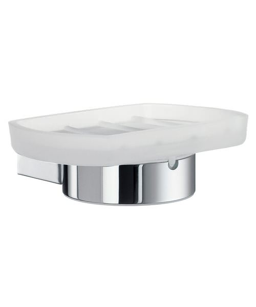 Smedbo Air Frosted Glass Soap Dish With Holder Chrome