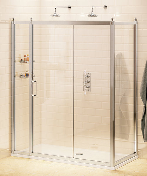 Burlington Soft Close Slider Door 140cm With 80cm Side Panel