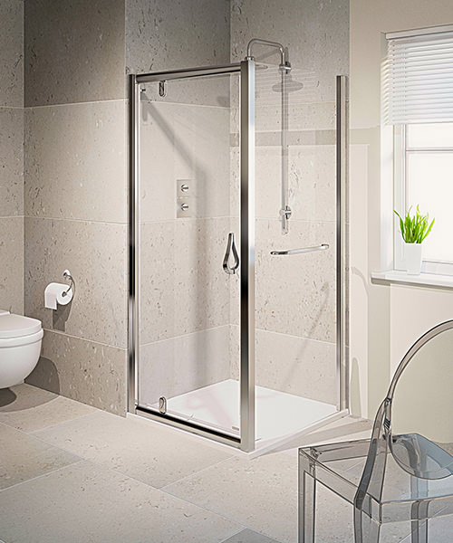 Aqualux Aqua 6 Pivot Shower Door 760mm Polished Silver