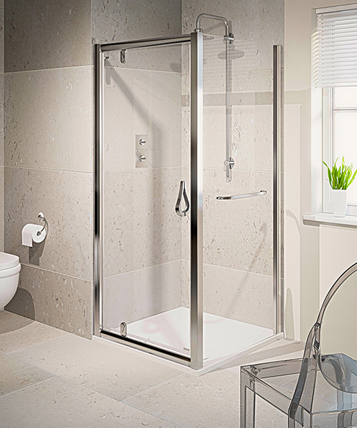 Aqualux Aqua 6 Pivot Shower Door 800mm Polished Silver