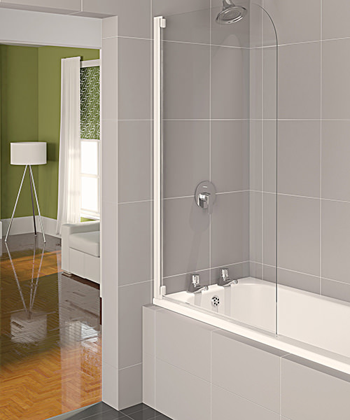 Aqualux Aqua 4 Half Frame Bath Screen White Clear Glass