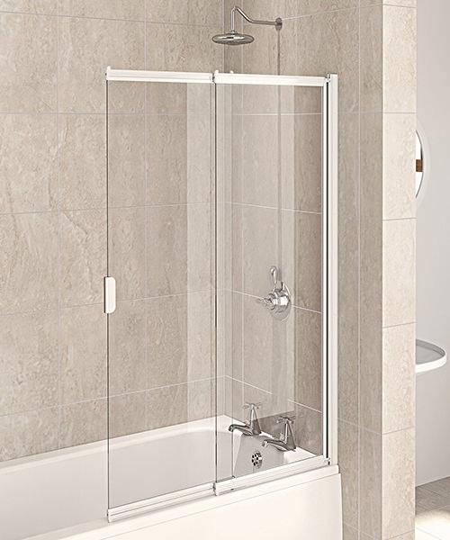 Aqualux Aqua 4 White Frame 2-Panel Slider Bath Screen 820 x 1275mm