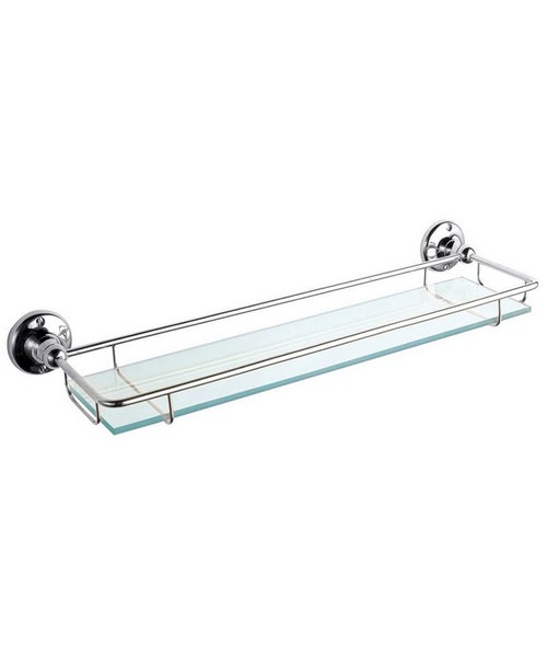 Beo Traditional Glass Gallery Shelf Chrome