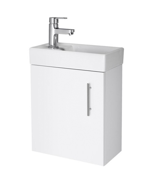 Lauren Minimalist 400mm White Wall Hung Cabinet And Basin