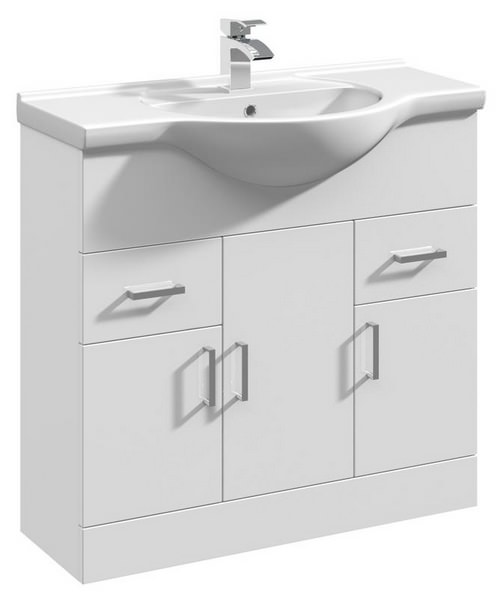 Beo Gloss White 850mm 3 Door And 2 Drawer Basin Vanity Unit