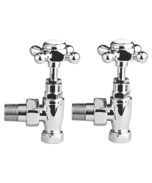 Premier Pair Of Angled Chrome Traditional Radiator Valves