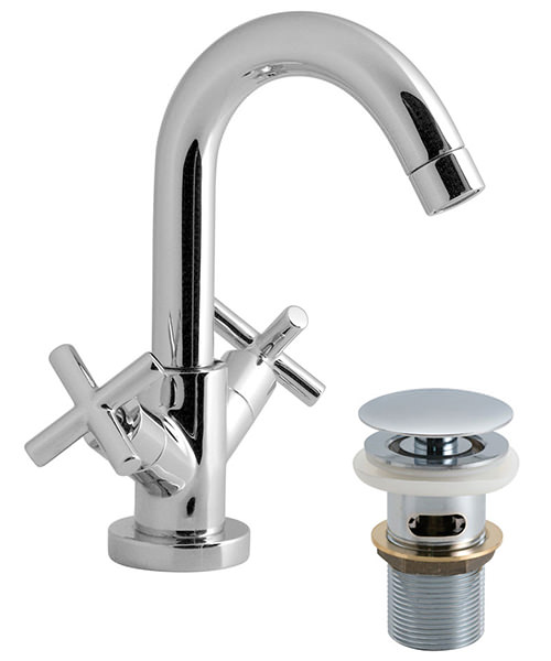 Vado Elements Water Deck Mounted Mono Basin Mixer Tap With Click-Clac Waste