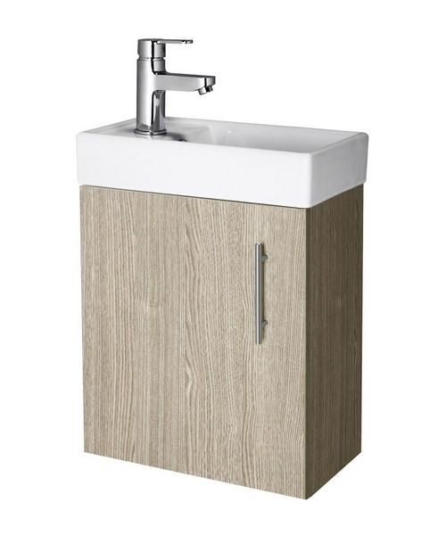 Lauren Minimalist 400mm Light Oak Wall Hung Cabinet And Basin