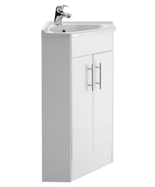 Beo 555 x 800mm corner vanity unit and basin high gloss white for Bathroom cabinets 800mm high