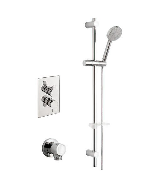 Tre Mercati Vamp Thermostatic Valve With Slide Rail Kit And Wall Outlet