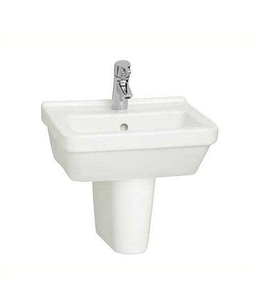 VitrA S50 45cm Square Cloakroom Washbasin With Half Pedestal