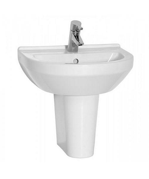 VitrA S50 50cm Round Washbasin With Half Pedestal Large