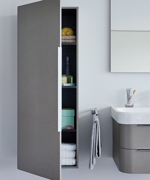 Duravit happy d2 white gloss 500 x 240mm tall cabinet for White gloss tall kitchen units