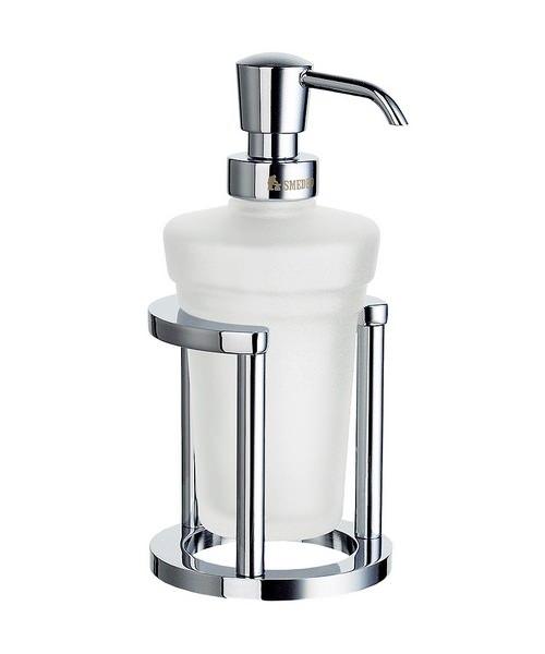 Smedbo Outline Freestanding Frosted Glass Soap Dispenser With Holder