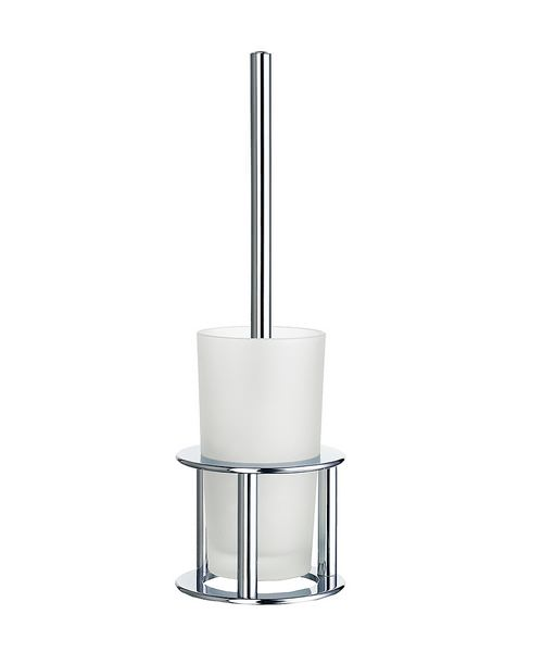 Smedbo Outline 420mm Freestanding Toilet Brush With Glass Container