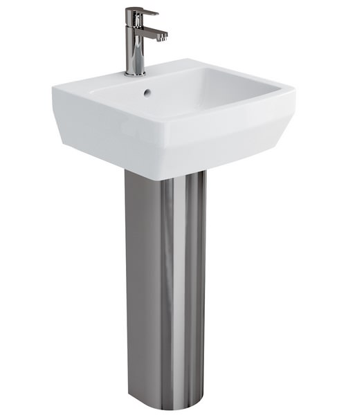 Britton Cube S20 White 500mm Basin With Stainless Steel Pedestal