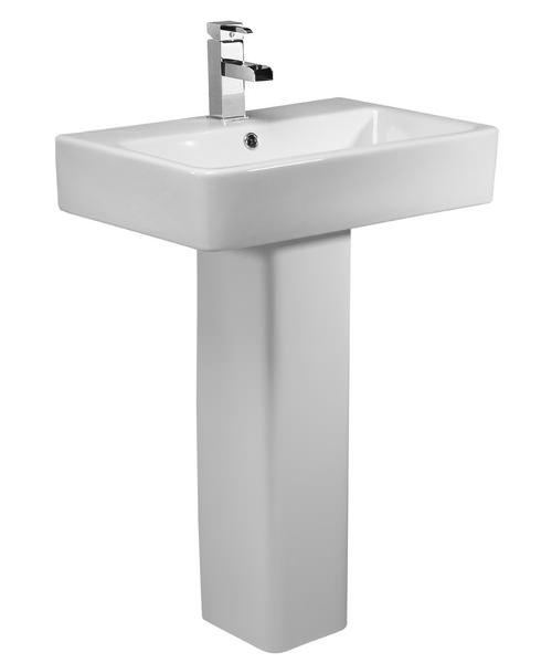 Tavistock Q60 575mm 1 Tap Hole Ceramic Basin With Pedestal