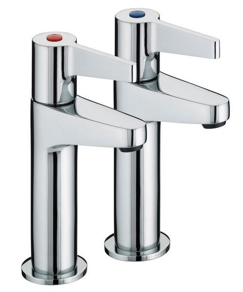 Bristan Design Utility Lever High Neck Pair Of Pillar Taps