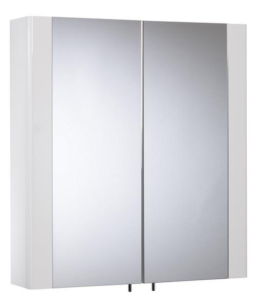 Tavistock Detail Double Door Mirror Cabinet White Gloss - W 600 x H 650mm
