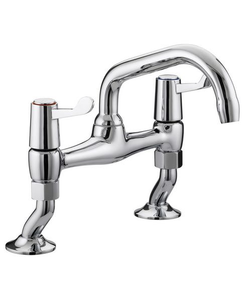 Bristan Value Lever Pillar Bridge Sink Mixer Tap With 76mm Levers