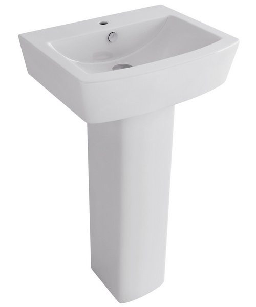 Pura Bloque 1 Tap Hole 550mm Basin And Full Pedestal