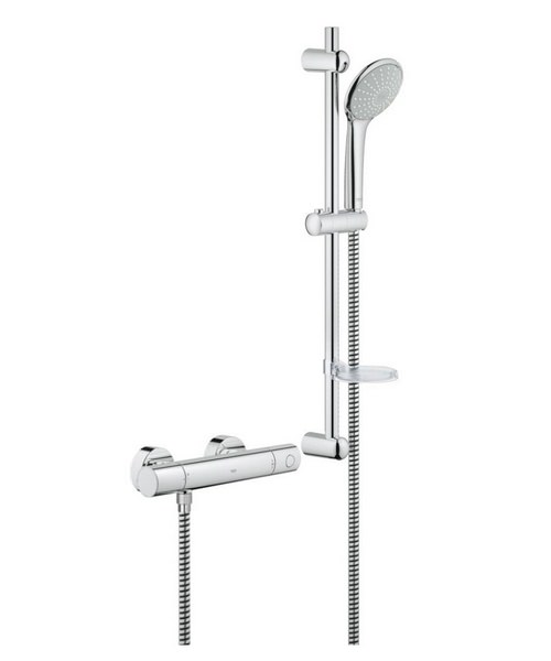 grohe grohtherm 1000 thermostat shower mixer valve with shower set. Black Bedroom Furniture Sets. Home Design Ideas