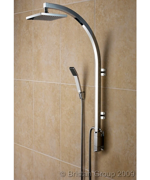 Bristan Qube Thermostatic Inline Vertical Shower Pole - Integral Diverter