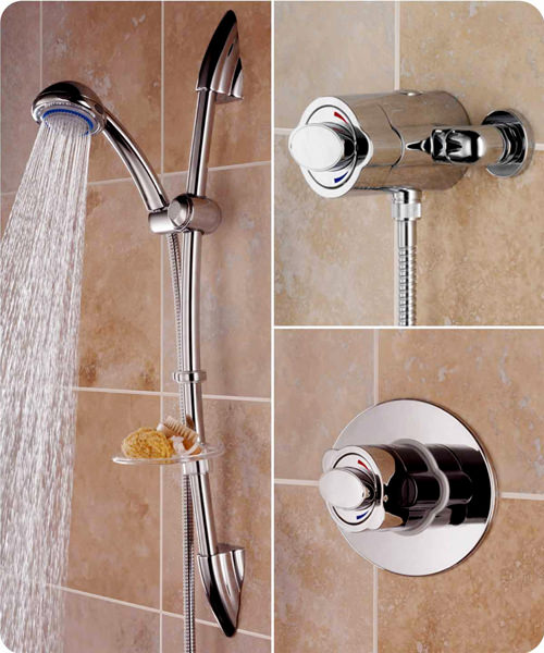 Quest Surface Mounted Or Recessed Shower Valve - Adjustable Riser