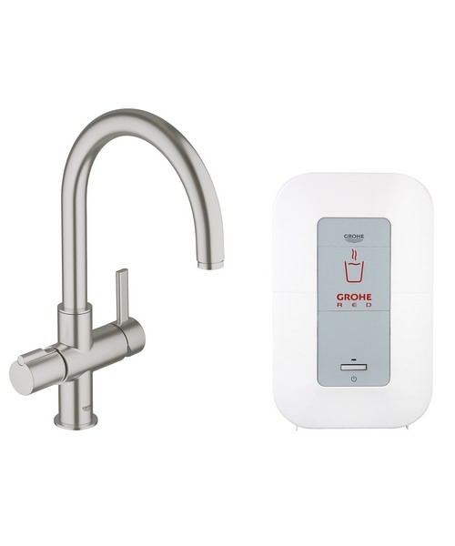 Grohe Red Duo Supersteel C Spout Faucet And 4 Litres Single Boiler