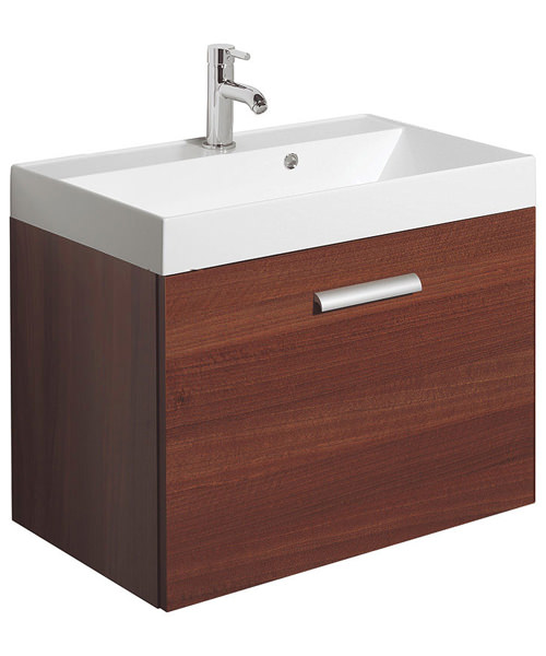Bauhaus design plus 700mm single drawer wall hung basin unit for Kitchen cabinets 700mm